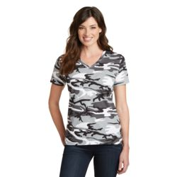 P&C Ladies 5.4oz Cotton Camo V-Neck T-Shirt Thumbnail