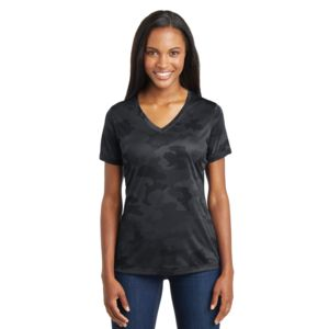 Sport Tek Ladies CamoHex Poly V-Neck T-Shirt Thumbnail