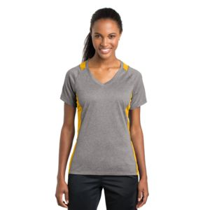 Sport Tek Ladies Heather Colorblock Poly T-Shirt Thumbnail