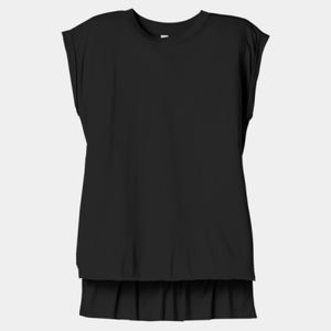 Ladies Flowy Muscle Tee With Rolled Cuffs Thumbnail